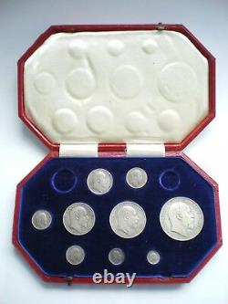 1902 EDWARD VII SILVER MATT PROOF 9 COIN SET CROWN TO MAUNDY 1d WITH BOX