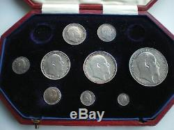 1902 EDWARD VII UK SILVER MATT PROOF 9 COIN SET CROWN TO MAUNDY 1d WITH BOX