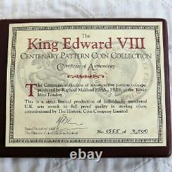 1937 EDWARD VIII 7 COIN CENTENARY SILVER PROOF PATTERN SET boxed/coa