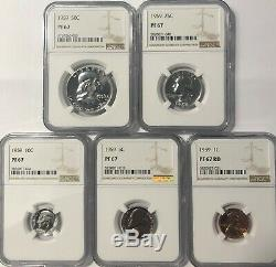 1959 Ngc Pf67 5 Coin Silver Proof Set Franklin Half Quarter Dime Nickel Penny