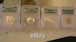 1964 Silver 4- Coin Set All Proof 70 RARE