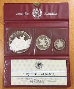1970 ALBANIA 3-Coin Silver Proof Set Original Wallet Packaging, 5 10 25 Leke