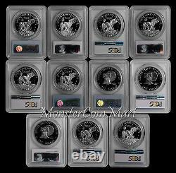 1971-1978 Eisenhower (ike) Dollar Pcgs Pr69dcam 11 Coin Set Great Quality