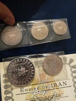 1971 Persia Proof Anniversary of Persian Empire, Complete Silver 5-Coin Set Rare