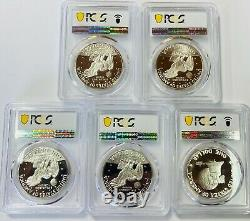 1971 S to 1976 S Silver Eisenhower Ike Dollar PCGS PR69 DEEP CAMEO 5 Coin Set