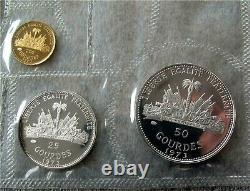 1973 Haiti Gold & Silver 9 Coin Set Proof Gourdes 25-50-100-200-500-1000 Rare