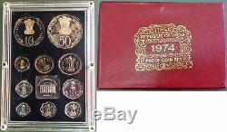 1974 Silver India Republic Proof 10 Coin Original Set Bombay Mint