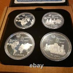 1976 CANADA Montreal Olympics SILVER 4-Coin PROOF Set Wood Case & COA's SERIES#1