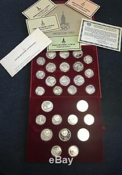 1980 Moscow Silver Proof Olympic 28 Coin Set