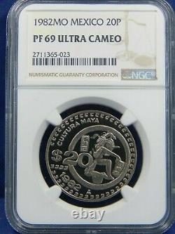 1982 Mo 20 P PESOS NGC ULTRA CAMEO PROOF MEXICO FROM 1983 SILVER ONZA SET 998MTG
