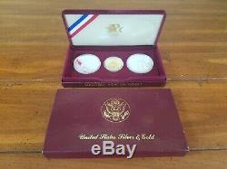1983 & 1984 US Gold & Silver Olympic 3-Coin Commemorative Proof Set