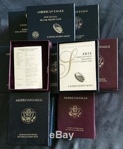 1986-2015 COMPLETE SILVER EAGLE 29-Coin Proof set all with OMP & COA's FREE S/H