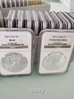 1986 2020 (34 Coin Set) American Silver Eagle Set Coin Proof Ngc Pf 69