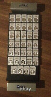 1986-2020 Proof Silver American Eagle Complete Set of 34 Coins NGC PR69 UC