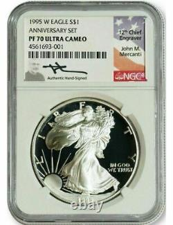1986-2021 $1 Silver Eagle 36-pc set NGC PF70 Mercanti Signed with 1995-W
