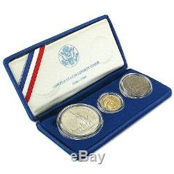 1986 US Statue of Liberty 3-Coin Commemorative BU Set Gold & Silver Proof In Box