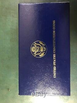 1987-S U. S. Constitution 2 Coin Proof Set $5 Gold and $1 Silver Dollar with COA