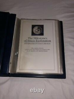 1989 Milestones Of Space Exploration $50 Silver Proof 24 Coin Set, Coa +bonus