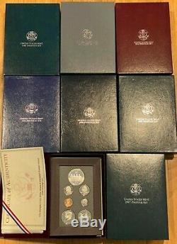 1990 to 1997 US Mint Prestige Silver Proof Sets including 1996 Prestige