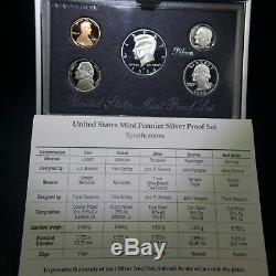 1992-1998 90% Silver United States Premier Proof Sets (7) Run US Mint Box & COA
