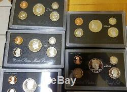 1992-1998 U. S. Mint Silver Proof Lot of 7 Black Box Sets OGP withCOA FRESH + CLEAN