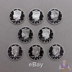 1992-1999 S Kennedy Half Dollar 90% Silver Gem Deep Cameo Proof Run 8 Coin Set