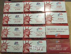 1992-2016 S Proof Set Run Box & COA 90% Silver US Mint 25 Sets 259 Coins