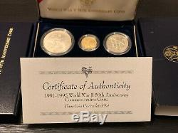 1993 World War II 3 Coin Proof Set $5 Gold $1 Silver & Clad Half Dollar with COA
