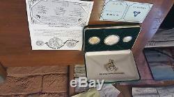 1994 China Prestige Panda Proof Set, Bi Metallic, Gold, Silver, Coa, Rare Set
