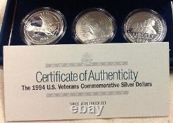 1994 US Mint $1 U. S. Veterans Commemorative 3-Coin Set Proof