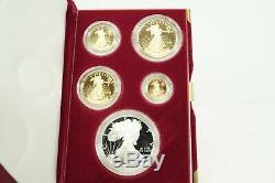 1995 W 10th Anniversary Proof American Eagle 4 Coin Gold & Silver Eagle Set COA