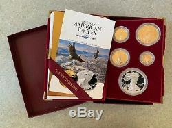 1995-W 10th Year Anniversary Proof American Gold & Silver Eagle 5 Coin Set withOGP