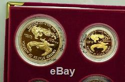 1995-W AMERICAN EAGLE 10th ANNIVERSARY 5 COIN GOLD & SILVER PROOF SET OGP