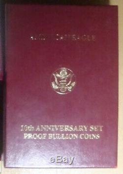 1995-W American Eagle 10th Anniversary Gold & Silver Proof Set All Orig. Pkg