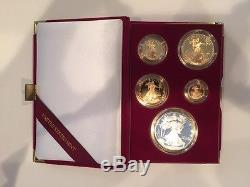 1995 W Five Coin American Eagle 10th Anniversary Set Proof Gold & Silver Coins