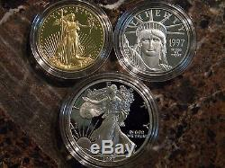 1997 Impressions of Liberty 3 Coin Proof Set Gold Platinum Silver Eagle Proofs