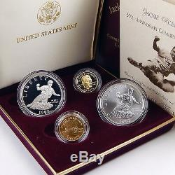 1997 US Jackie Robinson 4 Coin Gold & Silver Proof & Uncirculated Set sku 5375