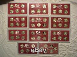 1999-2008 &09 Silver Proof Sets WithBoxes and COA for all 115 Coins
