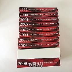 1999-2008 STATE QUARTER SILVER PROOF SET US Mint COMPLETE Orig. Boxes & COA's