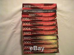 1999-2008 Silver Proof Sets With Boxes and COA for all 109 Coins