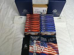 1999 2008 US Mint Proof & Silver Proof Sets w / Original Boxes and COA