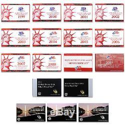 1999-2015 S Proof Set Run Box & COA 90% Silver US Mint 17 Sets 211 Coins