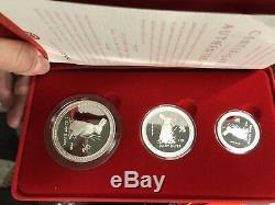 1999 Australia series I rabbit lunar proof 2oz 1oz 1/2oz silver coin set rare