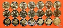 2000 2019 PDSS +S Roosevelt Dime 82 Coin BU Set wALL Clad & Silver Proof + Enh