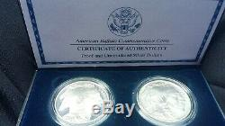2001 Smithsonian American Buffalo Silver Dollar 2 Coin Set Bu & Proof