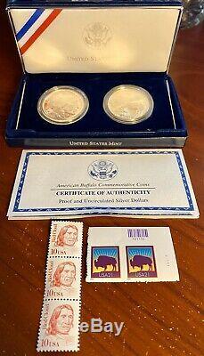 2001 U. S. American Buffalo Proof Silver Dollar Commemorative 2 Coin Set