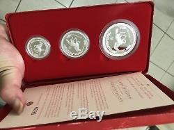 2002 Australia series I horse lunar proof 2oz 1oz 1/2oz silver coin set rare