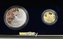 2002 Salt Lake Olympic Winter Games Commemorative Gold Silver Proof 2 Coin Set