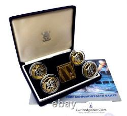 2002 Silver Proof Manchester Commonwealth Games £2 Coin Set Blue Box COA