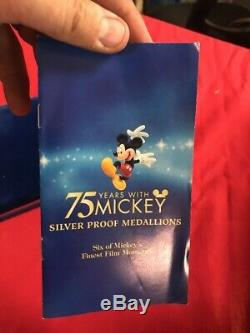 2003 Mickey Mouse Fine Silver Proof 6 Medallion Set Disney 75 Years with Mickey